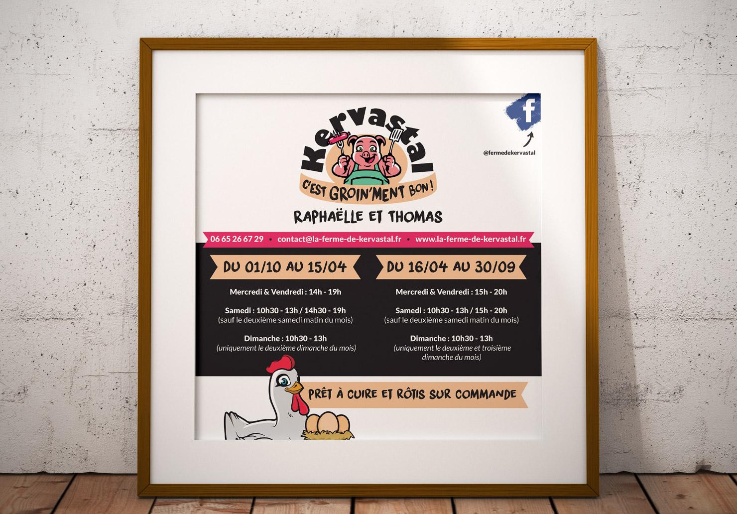 Panneau Publicitaire La Ferme de Kervastal - Création de panneau publicitaire par Emilie Le Béhérec Prima, Graphiste freelance dans le Finistère