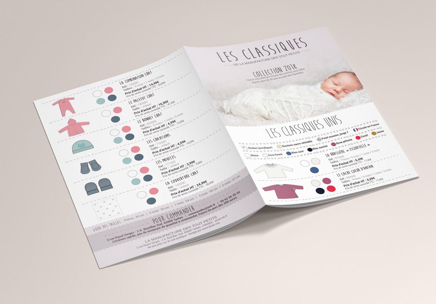 Catalogue La Manufacture de Layette - Création de catalogue par Emilie Le Béhérec, graphiste freelance spécialisée dans le domaine de l'enfance