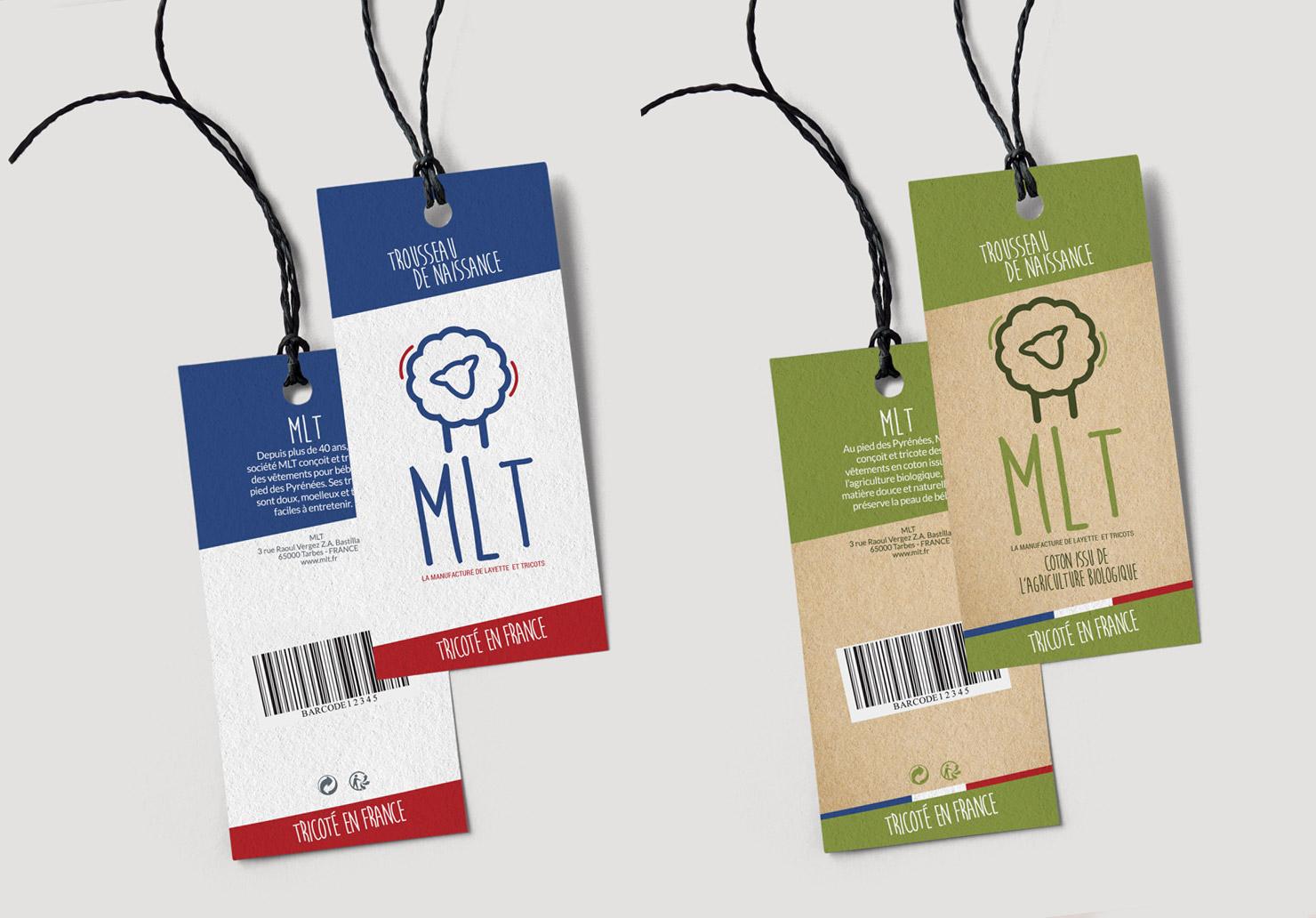 Etiquettes vêtements La Manufacture de Layette - Création d'étiquettes produits par Emilie Le Béhérec, graphiste freelance spécialisée dans le domaine de l'enfance
