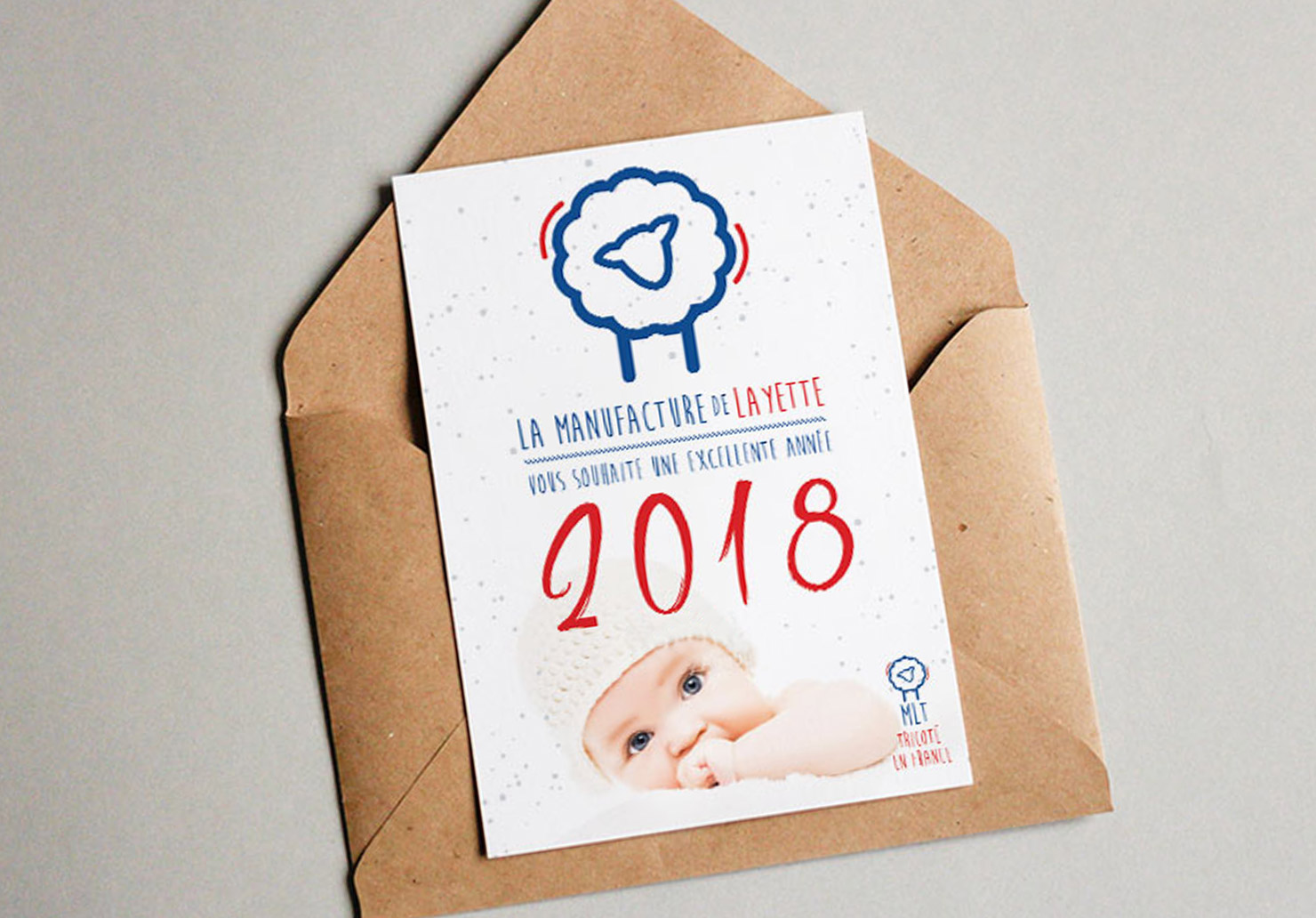 Carte de voeux La Manufacture de Layette - Création de cartes de voeux par Emilie Le Béhérec, graphiste freelance spécialisée dans le domaine de l'enfance