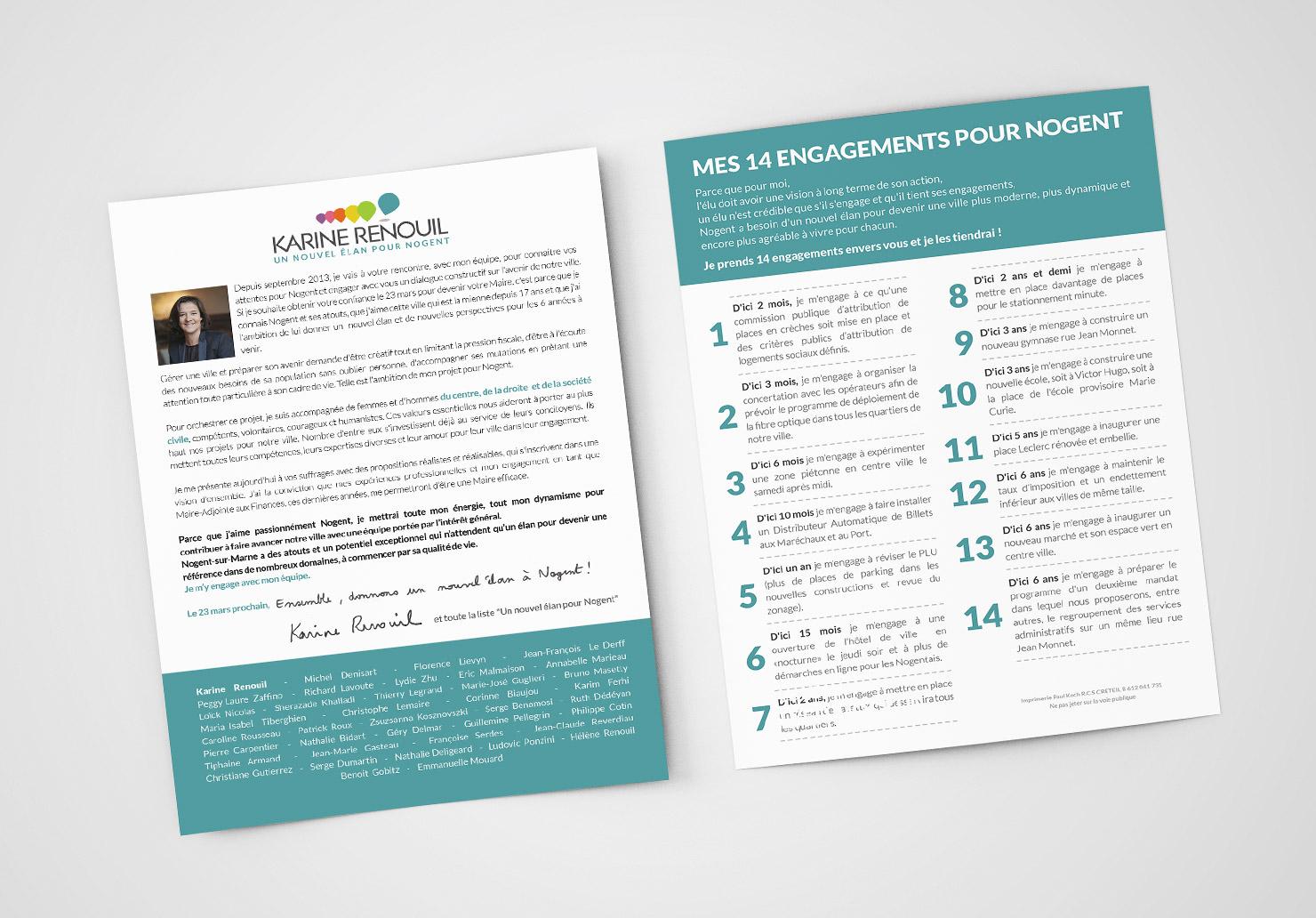 Supports de communication pour campagne éléctorale - Création de supports de communication pour une campagne électorale par Emilie Le Béhérec Prima, graphiste web et print